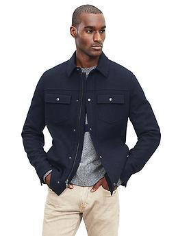Wool-Blend Shirt Jacket - Navy heather